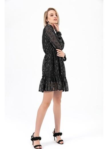 Tiffany&Tomato Leopar Desenli Parlak Uzun Kollu Organze Kısa Elbise-Siyah Siyah